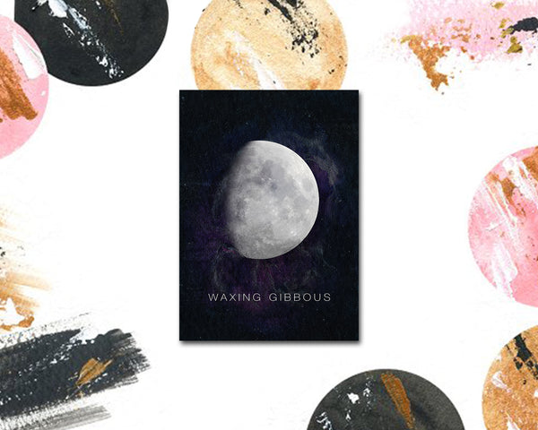 Waxing Gibbous Moon Phases Universe Space Customizable Greeting Card