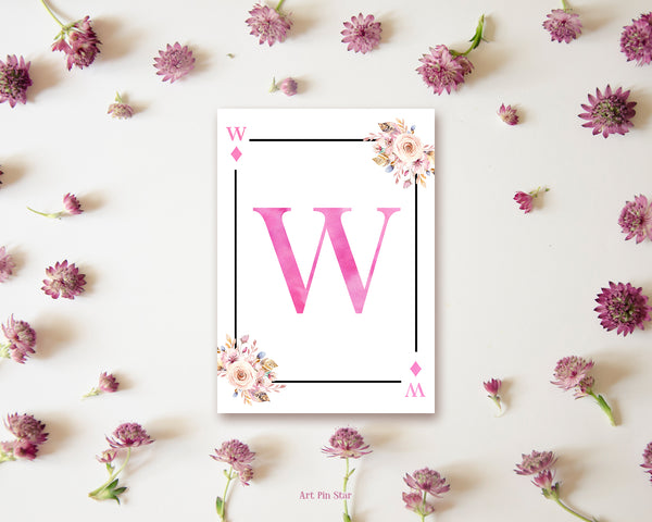 Boho Floral Bouquet Initial Flower Letter W Diamond Monogram Note Cards