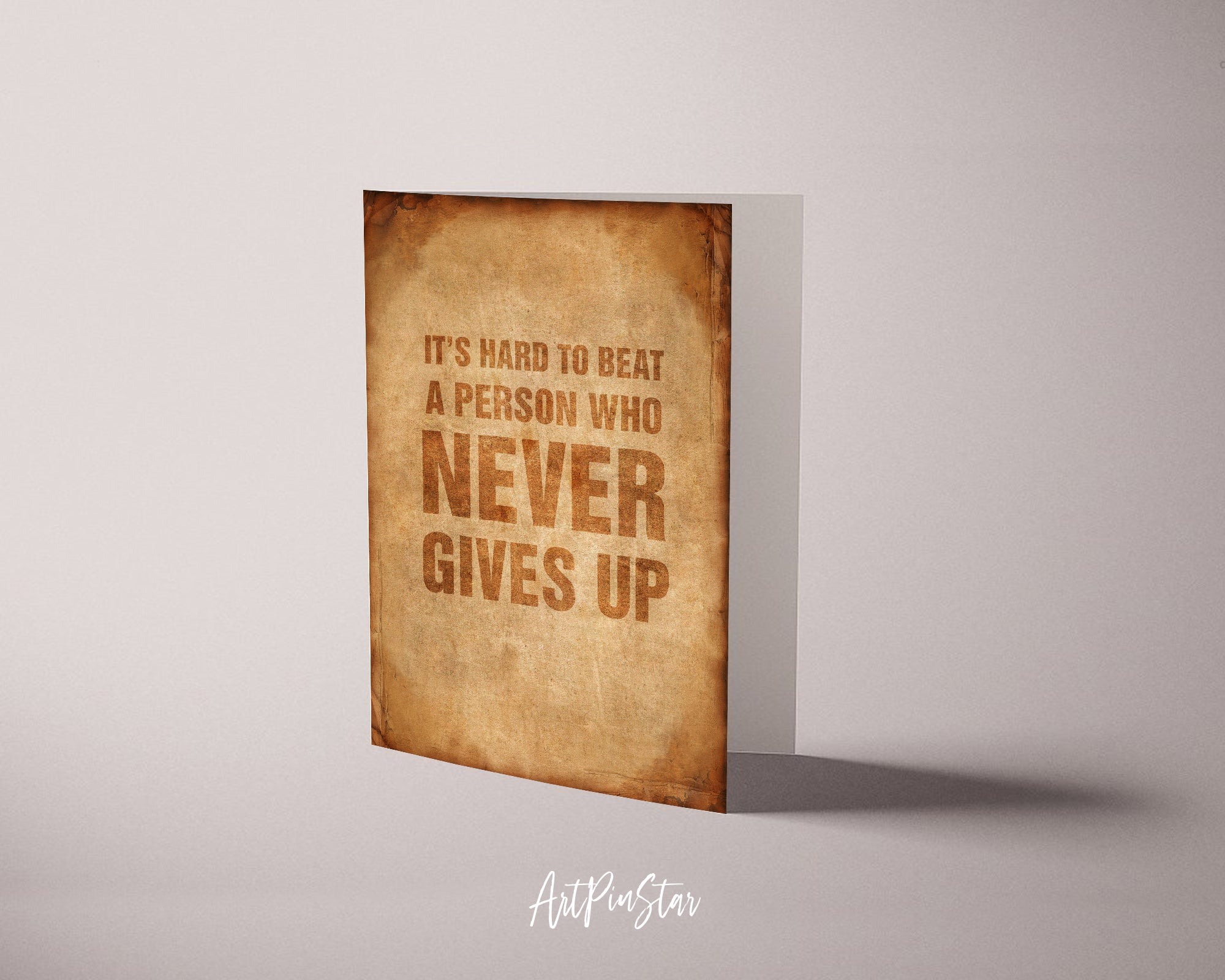 It's hard to beat a person who never give up Babe Ruth Motivational Quote Customized Greeting Cards