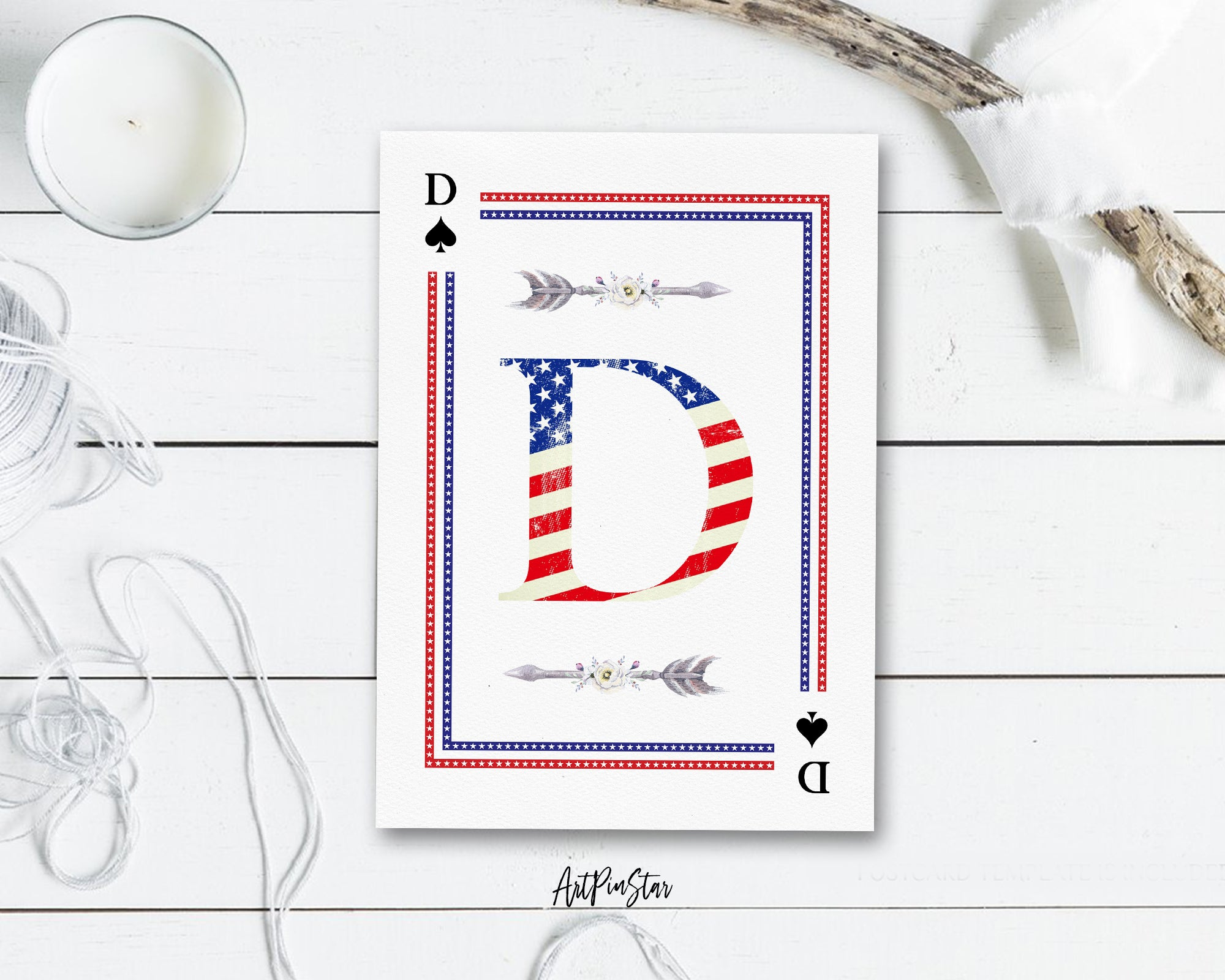 American Flag Letter D Spade Monogram Note Cards