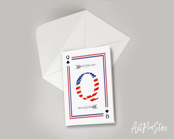 American Flag Letter Q Spade Monogram Note Cards