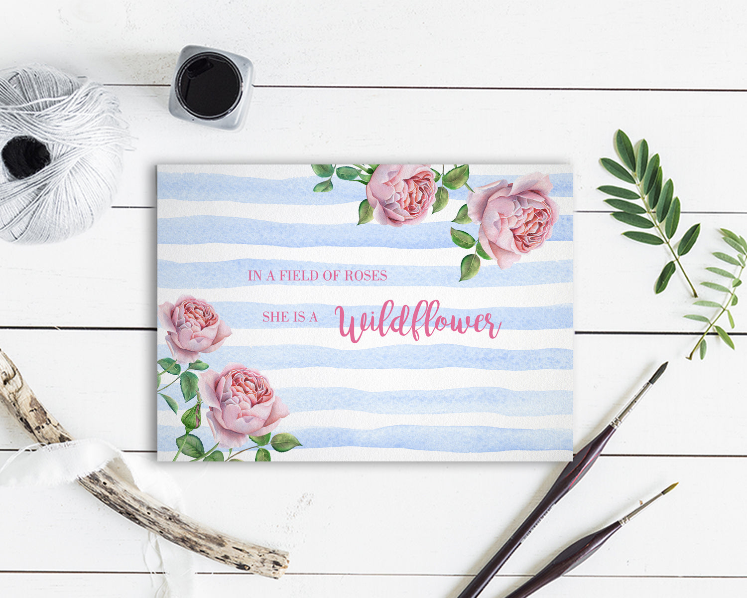 In a field of roses she is a wildflower Flower Quote Customized Gift Cards