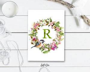 Alphabet Wreath Green Letter R Boho Floral bird Monogram Note Cards