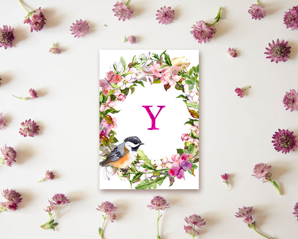 Alphabet Wreath Pink Letter Y Boho Floral bird Monogram Note Cards