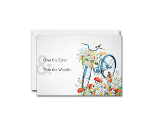 Over the river & thru the woods Song Lyric Quote Customized Greeting Cards