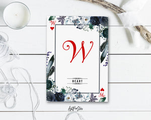 Watercolor Floral Flower Bouquet Initial Letter W Heart Monogram Note Cards