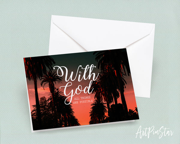 With God all things are possible Matthew 19:26 Bible Verse Customized Greeting Card