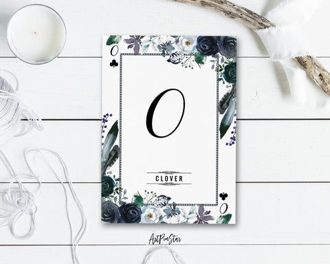 Watercolor Floral Flower Bouquet Initial Letter O Clover Monogram Note Cards