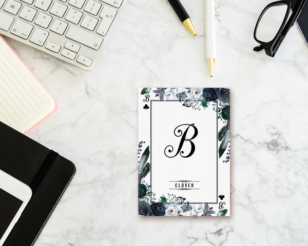 Watercolor Floral Flower Bouquet Initial Letter B Clover Monogram Note Cards