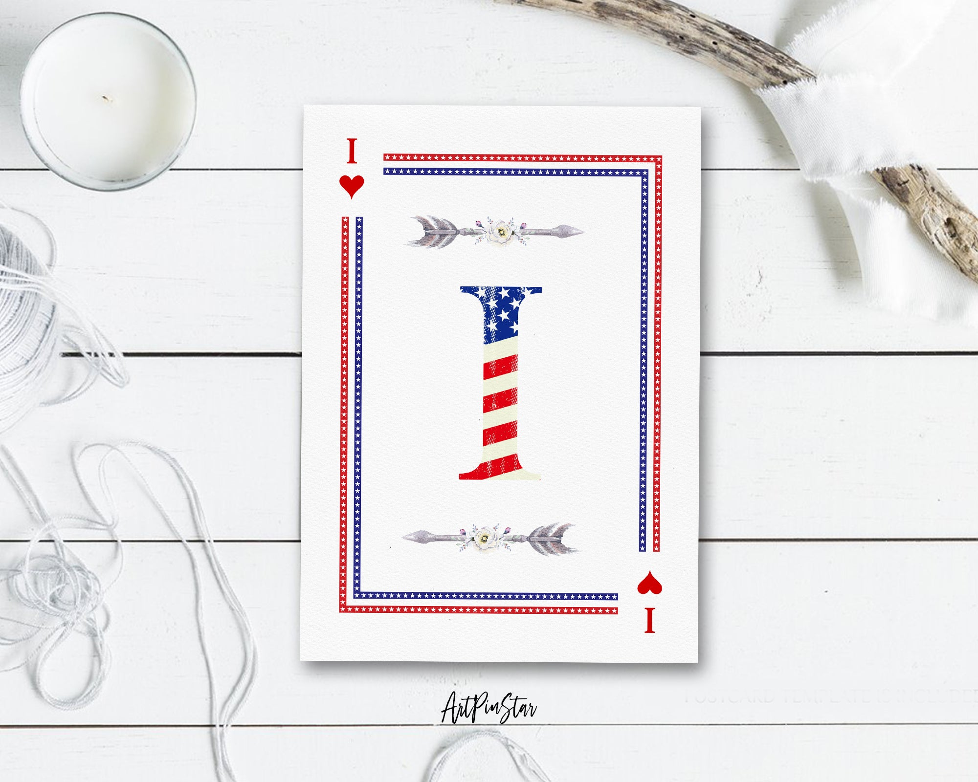 American Flag Letter I Heart Monogram Note Cards