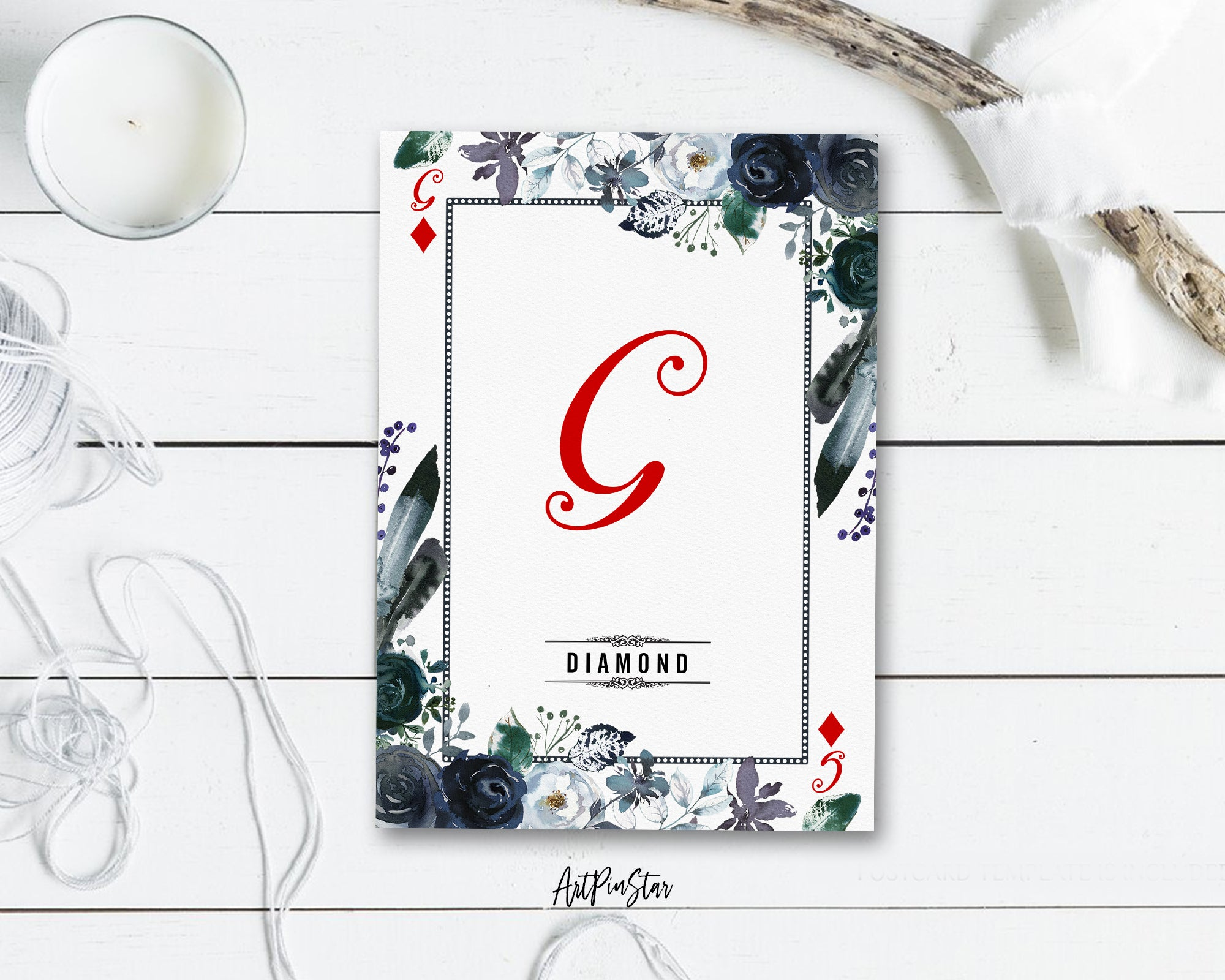 Watercolor Floral Flower Bouquet Initial Letter G Diamond Monogram Note Cards
