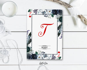 Watercolor Floral Flower Bouquet Initial Letter T Heart Monogram Note Cards