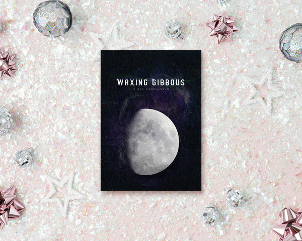 Waxing Gibbous Moon Lunar Phases Customizable Greeting Card