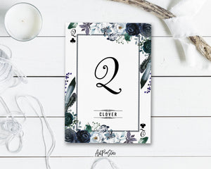 Watercolor Floral Flower Bouquet Initial Letter Q Clover Monogram Note Cards
