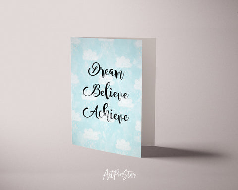 Dream Believe Achieve Inspirational Quote Customized Greeting Cards