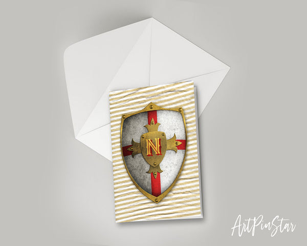 Alphabet Shield Letter N Signature Monogram Note Cards