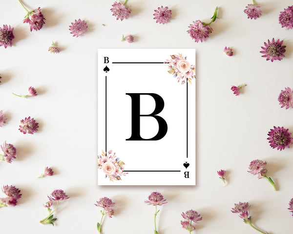Boho Floral Bouquet Initial Flower Letter B Spade Monogram Note Cards