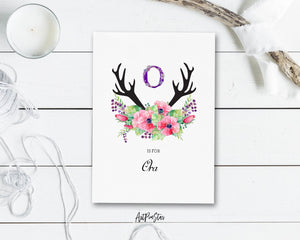 Initial Boho Floral Flower Personalized Letter O is for Name  Monogram Note Cards