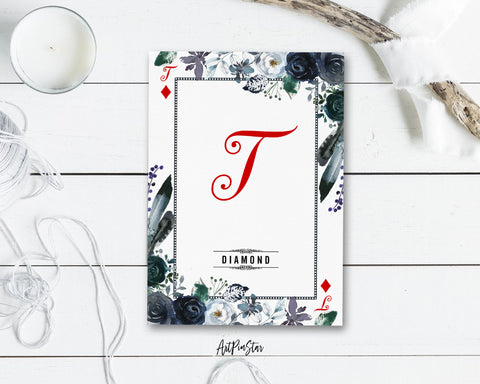 Watercolor Floral Flower Bouquet Initial Letter T Diamond Monogram Note Cards