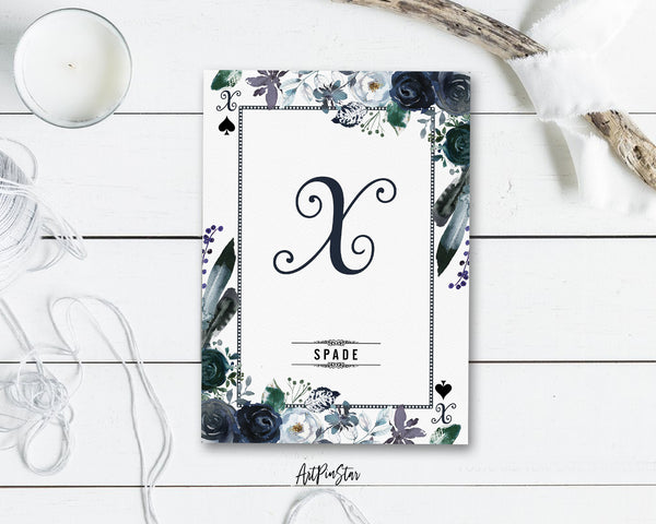 Watercolor Floral Flower Bouquet Initial Letter X Spade Monogram Note Cards