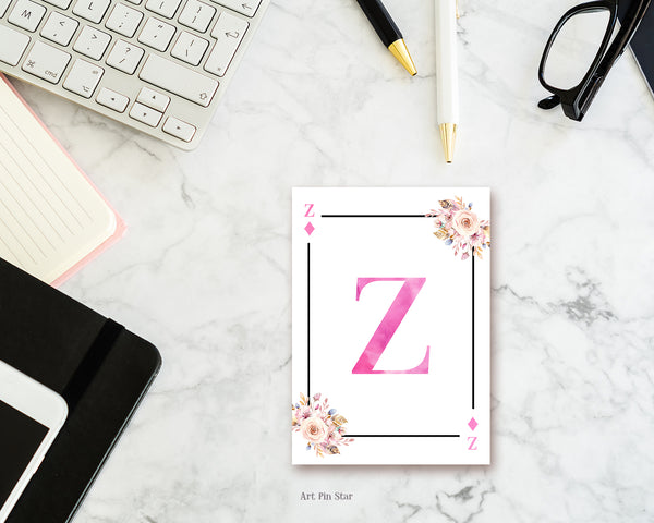Boho Floral Bouquet Initial Flower Letter Z Diamond Monogram Note Cards