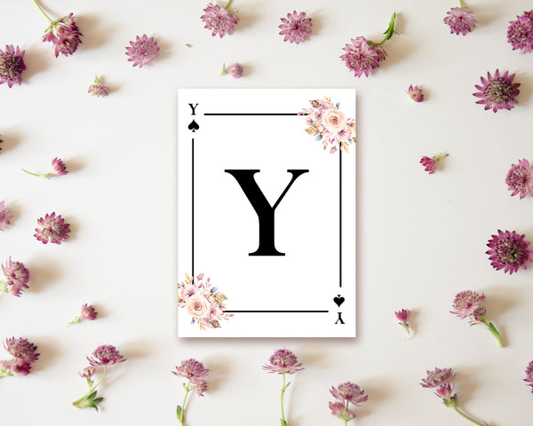 Boho Floral Bouquet Initial Flower Letter Y Spade Monogram Note Cards