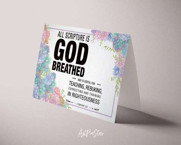 All scripture is god breathed and is useful for teaching Bible Verse Customized Greeting Card
