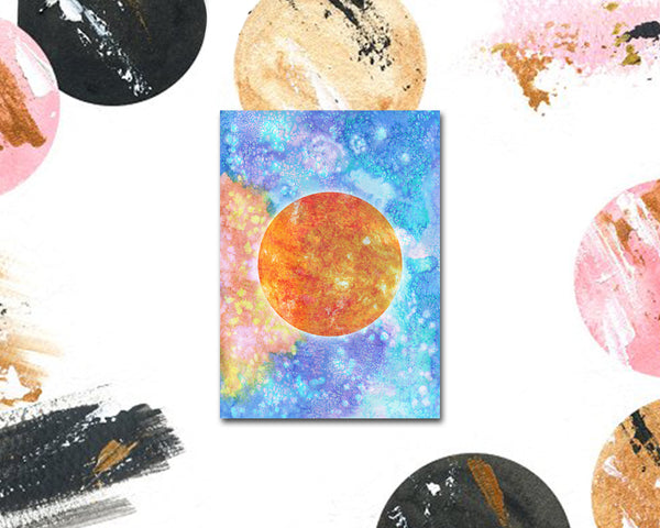 Sun Planet Watercolor Galaxy Space Customizable Greeting Card