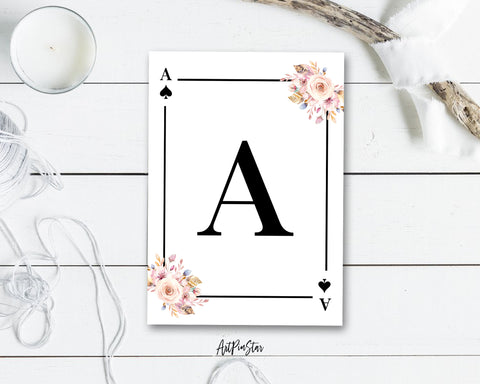 Boho Floral Bouquet Initial Flower Letter A Spade Monogram Note Cards