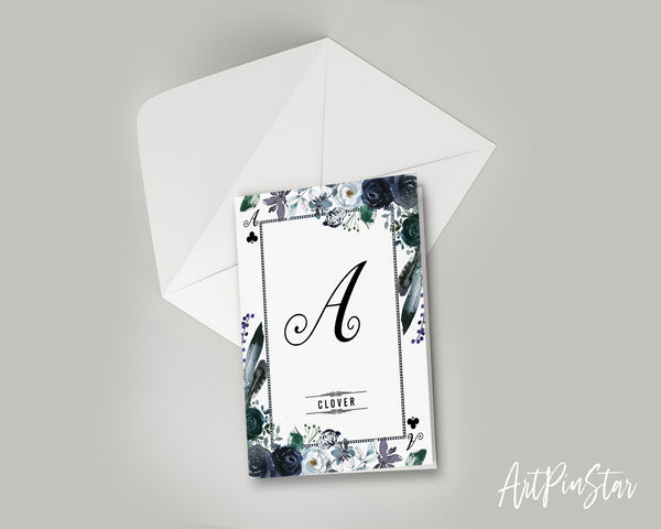 Watercolor Floral Flower Bouquet Initial Letter A Clover Monogram Note Cards
