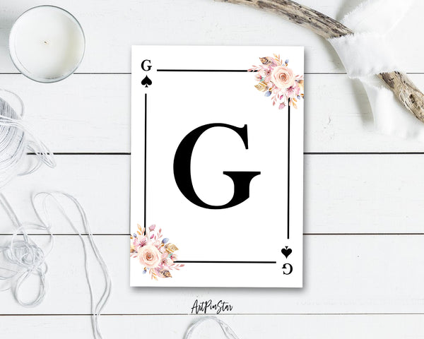 Boho Floral Bouquet Initial Flower Letter G Spade Monogram Note Cards