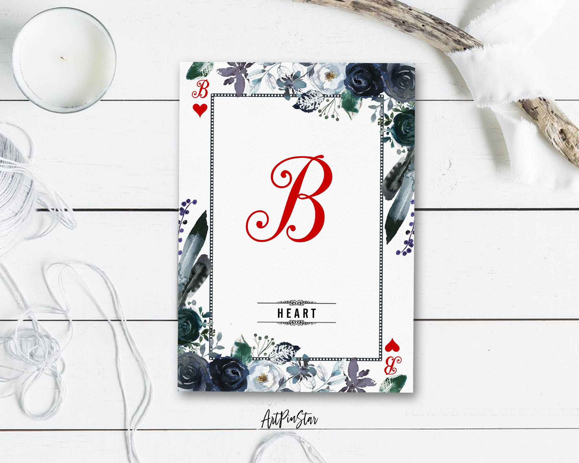 Watercolor Floral Flower Bouquet Initial Letter B Heart Monogram Note Cards