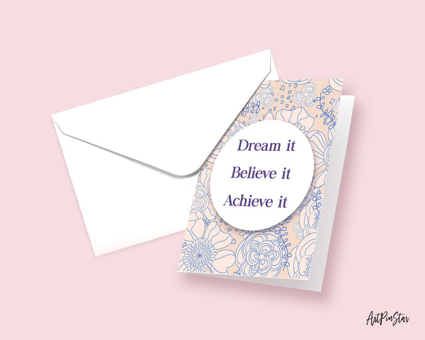Dream it Believe it Achieve it Tony Robbins Inspirational Quote Customized Greeting Cards