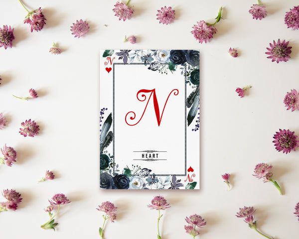 Watercolor Floral Flower Bouquet Initial Letter N Heart Monogram Note Cards