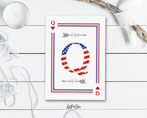 American Flag Letter Q Heart Monogram Note Cards
