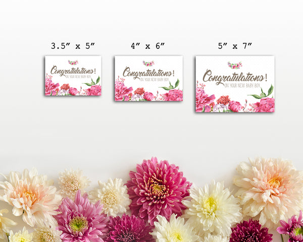 Congratulations On Your New Baby Boy Birth Announcements Customized Gift Cards