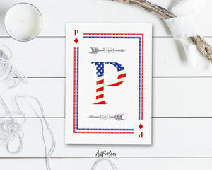 American Flag Letter P Diamond Monogram Note Cards