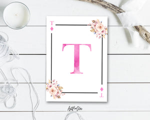 Boho Floral Bouquet Initial Flower Letter T Diamond Monogram Note Cards
