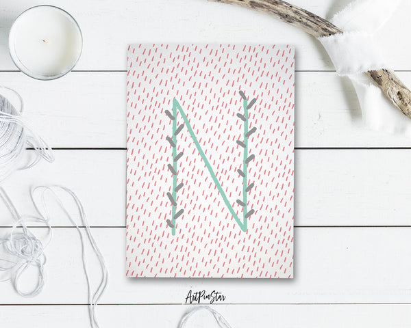 Alphabet Forest Letter N Animal Monogram Note Cards