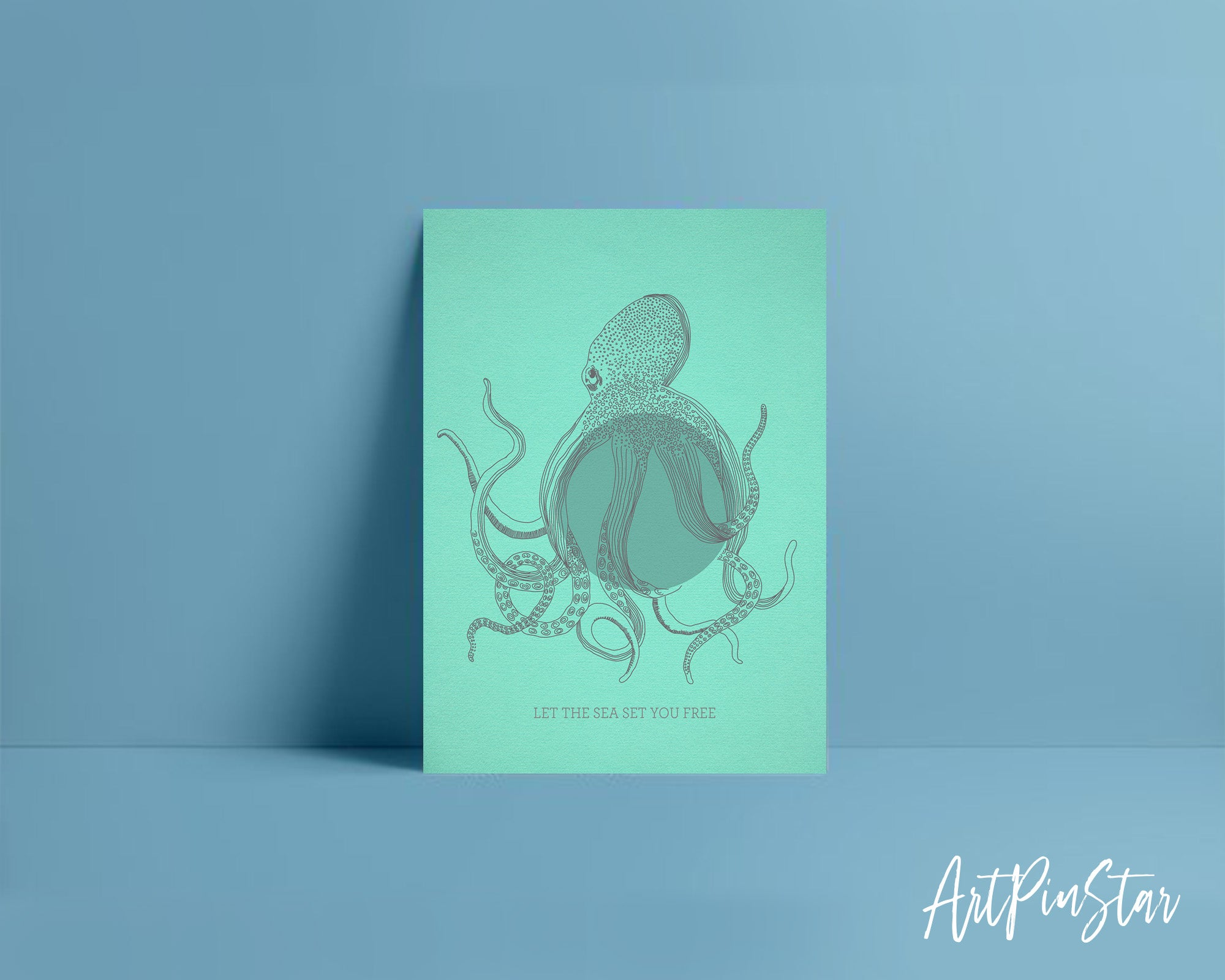 Let the sea set you free Octopus Animal Greeting Cards