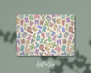 Alphabet Animal Letter Pattern A-Z Color Monogram Note Cards