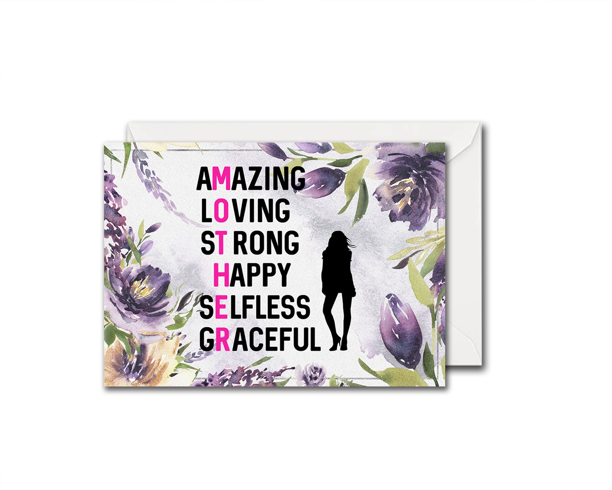 Amazing loving strong happy selfless graceful Mother's Day Occasion Greeting Cards
