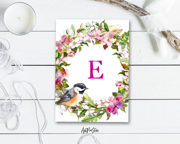 Alphabet Wreath Pink Letter E Boho Floral bird Monogram Note Cards