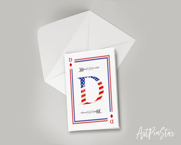 American Flag Letter D Diamond Monogram Note Cards