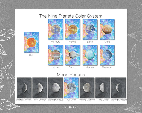 Moon Moon Phases Watercolor Galaxy Space Customizable Greeting Card