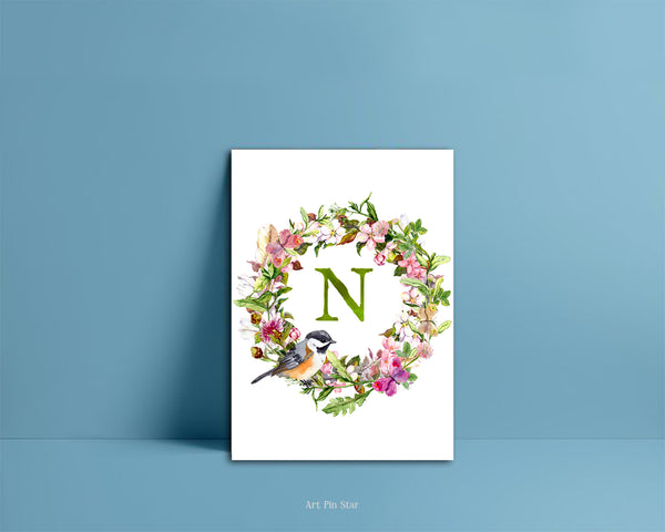 Alphabet Wreath Green Letter N Boho Floral bird Monogram Note Cards