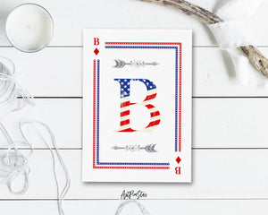 American Flag Letter B Diamond Monogram Note Cards