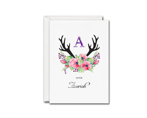 Initial Boho Floral Flower Personalized Letter A is for Name  Monogram Note Cards