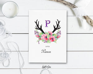 Initial Boho Floral Flower Personalized Letter P is for Name  Monogram Note Cards