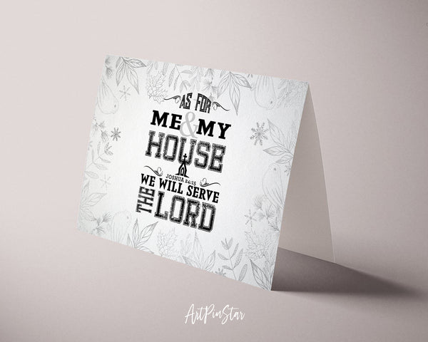 As for me & my house, we will serve the Lord Joshua 24:15 Bible Verse Customized Greeting Card